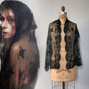 Victorian Silk Mantilla Mourning Goth Bride Scarf